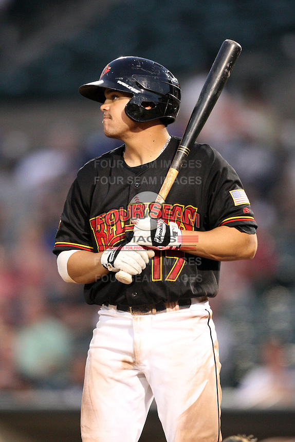 Rochester Red Wings catcher Jose Morales (17) during a game vs. the Scranton Wilkes-Barre Yankees at Frontier Field in Rochester, New York;  July 5, 2010.   Scranton defeated Rochester 9-5.  Photo By Mike Janes/Four Seam Images