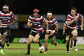 Sam Furniss chases the loose ball. Mitre 10 Cup rugby game between Counties Manukau Steelers and Auckland played at ECOLight Stadium, Pukekohe on Saturday August 19th 2017. Counties Manukau Stelers won the game 16 - 14 and retain the Dan Bryant Memorial trophy.<br /> Photo by Richard Spranger.