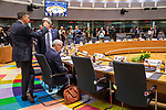 BRUSSELS - BELGIUM - 21 June 2019 -- European Council, summit meeting with heads of state. -- Antti Rinne Prime Minister of Finland sitting behind him Marjan Sarec Prime Minister of Slovenia. -- PHOTO: Juha ROININEN / EUP-IMAGES