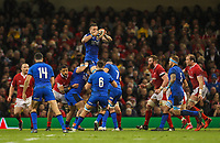 1st February 2020; Millennium Stadium, Cardiff, Glamorgan, Wales; International Rugby, Six Nations Rugby, Wales versus Italy; Abraham Steyn of Italy takes the line out