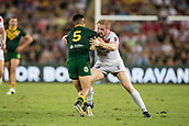 2nd December 2017, Brisbane, Australia;  James Graham of England tackles during the Rugby League World Cup Mens Final match between Australia and England at Brisbane Stadium, Brisbane, Australia