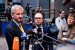 Brussels-Belgium - January 20, 2014 -- Meeting of the EU-Council on Foreign Affairs; here, 'doorstep'-briefing of the press upon arrival by Carl BILDT, Minister for Foreign Affairs of Sweden -- Photo: © HorstWagner.eu