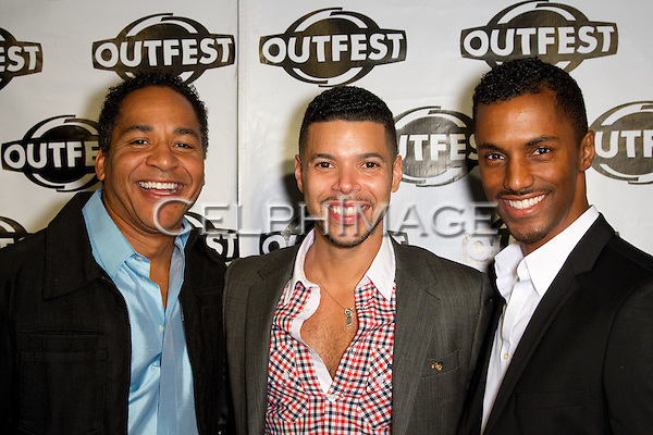 SCOTCH ELLIS LORING, WILSON CRUZ, DARRYL STEPHENS. Arrivals to a screening of The People I've Slept With, presented by Outfest as part of Fusion: the Los Angeles LGBT People of Color Film Festival. Hollywood, CA, USA. March 13, 2010.