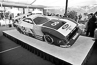 DETROIT, MI - JUNE 2: The Mustang GTP IMSA race car on display following the public introduction before the Detroit Grand Prix in Detroit, Michigan, on June 2, 1983.