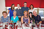Catherine Reidy from Caherslee enjoying her 60th Birthday with family and friends. at Cassidy's on Friday Pictured l-r  Nora Mai Gorman, Mary Gorman,Catherine Reidy, Tara Reidy, Eddie Stack, Back l-r Fiona Reidy, Jason Reidy, Micheal Reidy Geraldine Reidy