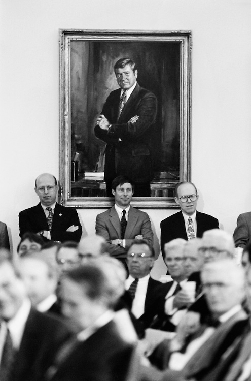 "Rep. James B. ""Jim"" Longley, R-Maine, and Rep. Frederick Stephen ""Fred"" Upton R-Mich., stand under Dan Rostenkowski's portrait in the Ways and Means Committee room. January 31, 1995 (Photo by Laura Patterson/CQ Roll Call)"