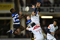 Levi Davis of Bath Rugby looks to claim the ball in the air. Anglo-Welsh Cup match, between Bath Rugby and Leicester Tigers on November 10, 2017 at the Recreation Ground in Bath, England. Photo by: Patrick Khachfe / Onside Images