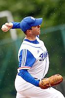 21 June 2011: Jerome Debrais of Team France pitches against UCLA Alumni during UCLA Alumni 5-3 win over France, at the 2011 Prague Baseball Week, in Prague, Czech Republic.