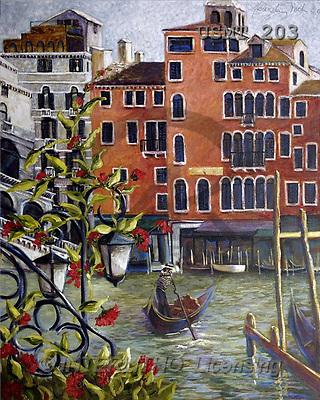 Malenda, LANDSCAPES, paintings, venitian limousine(USMT203,#L#) Landschaften, Schiffe, paisajes, barcos, llustrations, pinturas