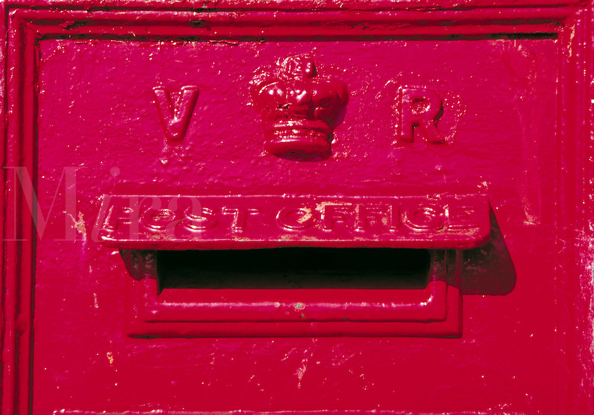 A Victorian mailbox, England. architectural detail, antique. England.