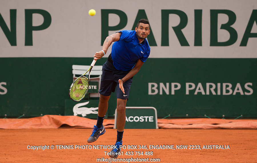 NICK KYRGIOS (AUS)<br /> <br /> TENNIS - FRENCH OPEN - ROLAND GARROS - ATP - WTA - ITF - GRAND SLAM - CHAMPIONSHIPS - PARIS - FRANCE - 2016  <br /> <br /> <br /> &copy; TENNIS PHOTO NETWORK