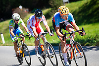 Picture by Alex Whitehead/SWpix.com - 28/09/2018 - Cycling - UCI 2018 Road World Championships - Innsbruck-Tirol, Austria - U23 Men's Road Race - Nickolas Zukowsky of Canada, Szymon Tracz of Poland and Izidor Penko of Slovenia.