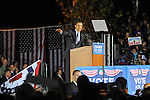 Senator and Democratic presidential candidate Barack Obama speaks at a campaign rally in Wicker Park in Highland, Indiana on Halloween, October 31, 2008.