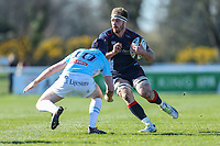 Joe Atkinson of London Scottish (right) looks for a way past Myles Dorrian of Bedford Blues (left) during the Greene King IPA Championship match between London Scottish Football Club and Bedford Blues at Richmond Athletic Ground, Richmond, United Kingdom on 25 March 2017. Photo by David Horn / PRiME Media Images.
