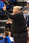 March 22,  2010                                  Saint Louis head coach Rick Majerus calls in a play late in the second half to his team.    St. Louis University defeated the University of Wisconsin-Green Bay  68-62 in double overtime in a quarterfinal (second) round game of the College Basketball Invitational Tournament on Monday March 22, 2010 at Saint Louis University's Chaifetz Arena.
