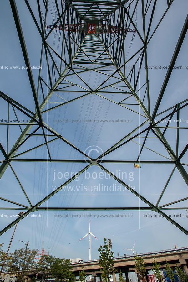 GERMANY, Hamburg, steel lattice tower and Nordex wind turbine / DEUTSCHLAND, Hamburg, Hochspannungsmast und Nordex Windkraftanlagen von Hamburg Energie im Hafen, Autobahn