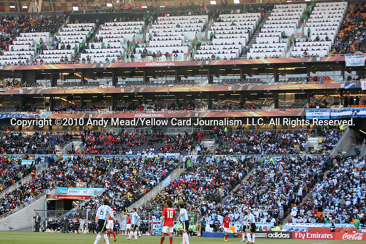 17 JUN 2010: The media tribune. The Argentina National Team defeated the South Korea National Team 4-1 at Soccer City Stadium in Johannesburg, South Africa in a 2010 FIFA World Cup Group E match.