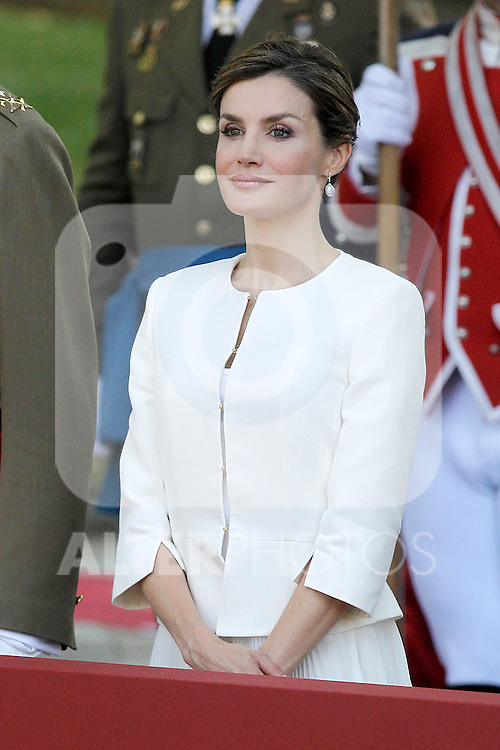 Queen Letizia of Spain attends the 2015 Armed Forces Day Ceremony at the Plaza de la Lealtad. June 6,2015. (ALTERPHOTOS/Acero)