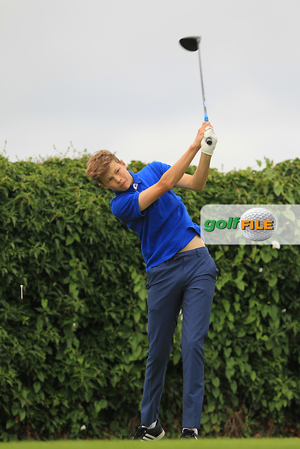 James Temple (Portmarnock) on the 5th tee during Round 3 of the 2016 Connacht U18 Boys Open, played at Galway Golf Club, Galway, Galway, Ireland. 07/07/2016. <br /> Picture: Thos Caffrey | Golffile<br /> <br /> All photos usage must carry mandatory copyright credit   (&copy; Golffile | Thos Caffrey)