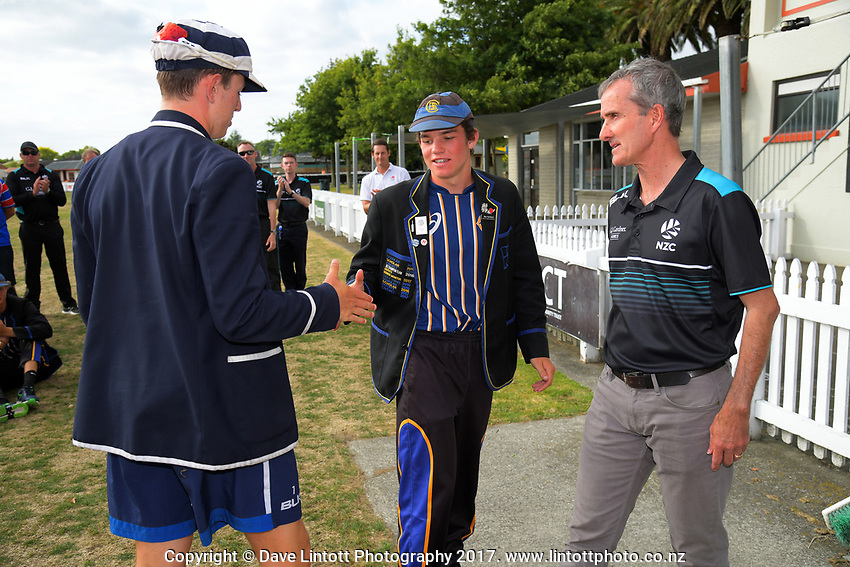 2017 the Secondary School Boys' First XI Cup national cricket finals presentations at Fitzherbert Park in Palmerston North, New Zealand on Friday, 8 December 2017. Photo: Dave Lintott / lintottphoto.co.nz