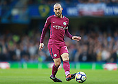30th September 2017, Stamford Bridge, London, England; EPL Premier League football, Chelsea versus Manchester City; David Silva of Manchester City passing the ball