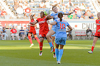Bridgeview, IL - Sunday June 12, 2016: Meg Morris, Arin Gilliland during a regular season National Women's Soccer League (NWSL) match between the Chicago Red Stars and the Portland Thorns at FC Toyota Park.