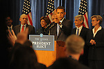 President Elect Barack Obama calls on reporters at the first press conference of his transition team at the Hilton Hotel in downtown Chicago, Illinois on November 7, 2008.