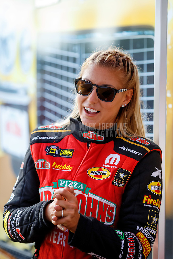 Sep 2, 2016; Clermont, IN, USA; NHRA top fuel driver Leah Pritchett during qualifying for the US Nationals at Lucas Oil Raceway. Mandatory Credit: Mark J. Rebilas-USA TODAY Sports