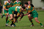 M. Harding & A. Butterworth look to have the Bombay player well wrapped up Counties Manukau Premier Club Rugby, Drury vs Bombay played at the Drury Domain, on the 14th of April 2006. Bombay won 34 - 13.