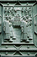Detail of bronze door - Hradcany St. Vitus cathedral - Castle area - Prague Czech Republic
