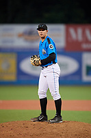 Hudson Valley Renegades relief pitcher Jack Labosky (14) gets ready to deliver a pitch during a game against the Tri-City ValleyCats on August 24, 2018 at Dutchess Stadium in Wappingers Falls, New York.  Hudson Valley defeated Tri-City 4-0.  (Mike Janes/Four Seam Images)