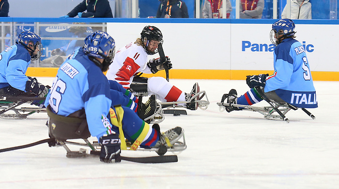 Pyeongchang, Korea, 11/3/2018-Adam Dixonof Canada plays Italy in hockey during the 2018 Paralympic Games in PyeongChang. Photo Scott Grant/Canadian Paralympic Committee.