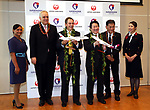 September 26, 2017, Tokyo, Japan - Hawaiian Airlines president Mark Dunkerley (3rd L) and Japan Airlines (JAL) president Yoshiharu Ueki (3rd R) display model planes as they announce to agree a comprehensive partnership at the JAL headquarters in Tokyo on Thursday, September 26, 2017. Their agreement provides for extensive code sharing, lounge access and frequent flyer program reciprocity.   (Photo by Yoshio Tsunoda/AFLO) LWX -ytd