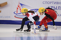 "SHORT TRACK: MOSCOW: Speed Skating Centre ""Krylatskoe"", 14-03-2015, ISU World Short Track Speed Skating Championships 2015, Sofia PROSVIRNOVA (#056   RUS), Jiaying TAO (#013   CHN), ©photo Martin de Jong"