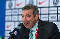 CHICAGO, IL - OCTOBER 6: Aaron Heifetz of the United States speaks during a press conference with Jill Ellis during a game between Korea Republic and USWNT at Soldier Field on October 6, 2019 in Chicago, Illinois.