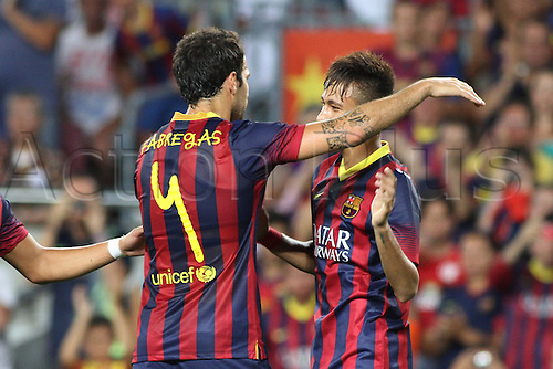 02.08.2013 Barcelona, Friendly football competition Joan Gamper Trophee. fabregas and Neymar celebring a goal