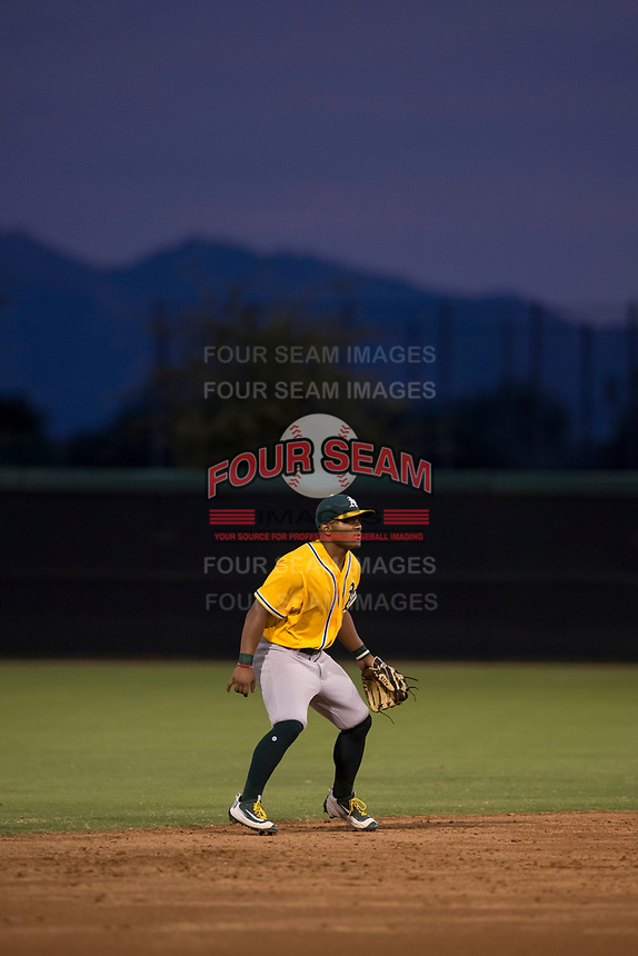 AZL Athletics shortstop Cobie Vance (16) during an Arizona League game against the AZL Athletics at Camelback Ranch on July 15, 2018 in Glendale, Arizona. The AZL White Sox defeated the AZL Athletics 2-1. (Zachary Lucy/Four Seam Images)