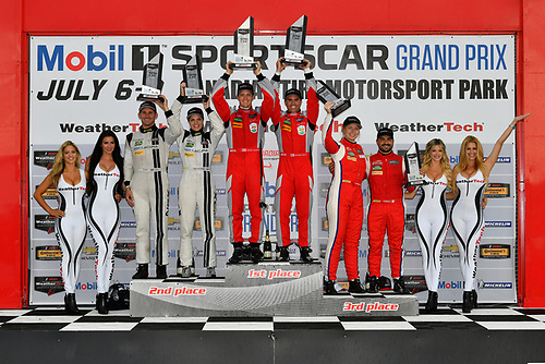 IMSA WeatherTech SportsCar Championship<br /> Mobil 1 SportsCar Grand Prix<br /> Canadian Tire Motorsport Park<br /> Bowmanville, ON CAN<br /> Sunday 9 July 2017<br /> 57, Audi, Audi R8 LMS GT3, GTD, Lawson Aschenbach, Andrew Davis, 93, Acura, Acura NSX, Andy Lally, Katherine Legge, 63, Ferrari, Ferrari 488 GT3, Alessandro Balzan, Christina Nielsen, celebrates, win, winners, victory lane, podium<br /> World Copyright: Scott R LePage/LAT Images