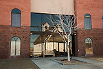 Old Episcopal Church reflected in the entrance of the Humboldt Museum, WInnemucca, Nevada
