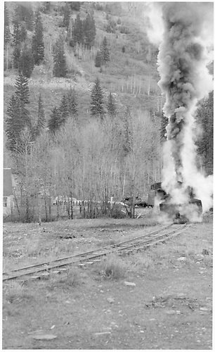 RGS engine with pilot plow at Illium wye.<br /> RGS  Illium, CO  Taken by Richardson, Robert W. - 11/7/1952