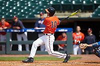 Pavin Smith (10) of the Virginia Cavaliers follows through on his swing against the Duke Blue Devils in Game Seven of the 2017 ACC Baseball Championship at Louisville Slugger Field on May 25, 2017 in Louisville, Kentucky. The Blue Devils defeated the Cavaliers 4-3. (Brian Westerholt/Four Seam Images)