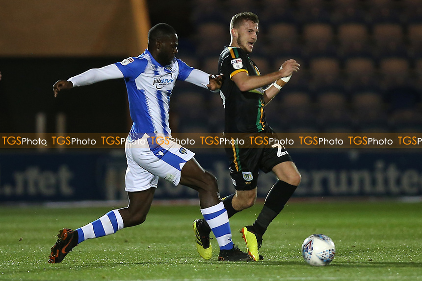 Frank Nouble of Colchester United and Tom James of Yeovil Town during Colchester United vs Yeovil Town, Sky Bet EFL League 2 Football at the JobServe Community Stadium on 2nd October 2018