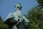 Statue of Fr. Edward Sorin founder of the University of Notre Dame...Photo by Matt Cashore..All rights reserved.  No usage without proper authorization and/or compensation...To contact Matt Cashore:.cashore1@michiana.org.574-220-7288.574-233-6124.www.mattcashore.com..