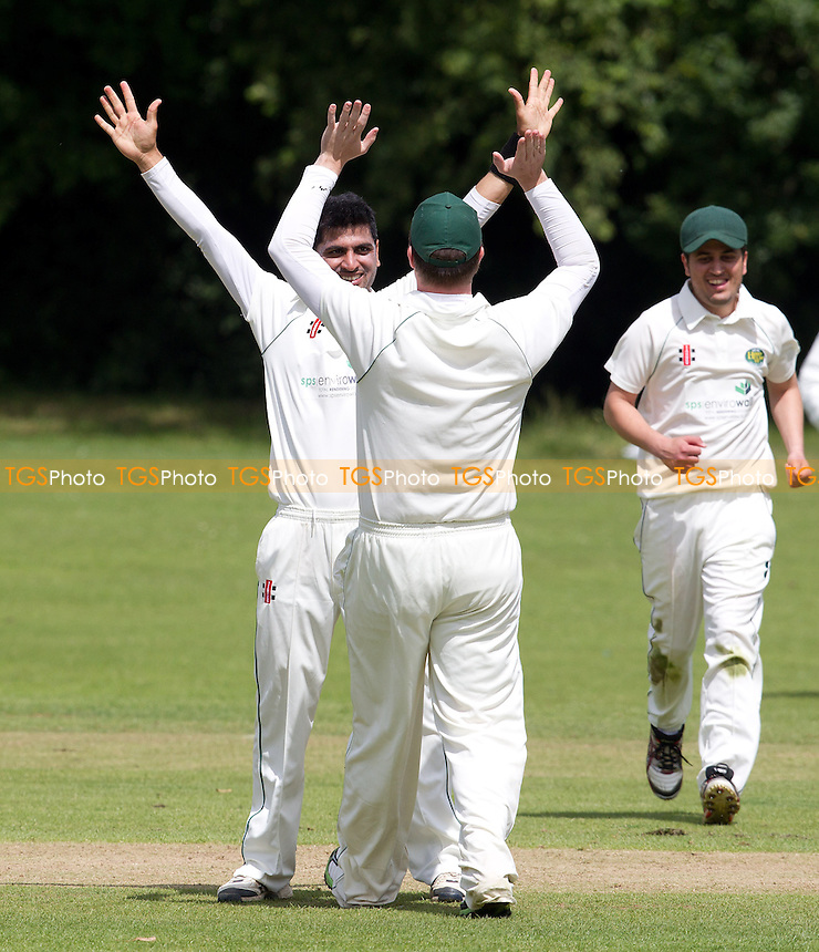 Team mates rush to celebrate with Shabhaz Khan following his fifth wicket - Harold Wood CC v Woodford Wells CC - Essex Cricket League - 29/06/13 - MANDATORY CREDIT: Ray Lawrence/TGSPHOTO - Self billing applies where appropriate - 0845 094 6026 - contact@tgsphoto.co.uk - NO UNPAID USE