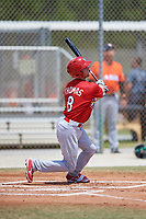 St. Louis Cardinals Lane Thomas (8) during a Minor League Spring Training game against the Miami Marlins on March 26, 2018 at the Roger Dean Stadium Complex in Jupiter, Florida.  (Mike Janes/Four Seam Images)