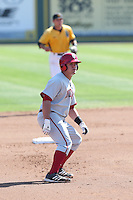 Kyle Schwarber #10 of the Indiana Hoosiers runs the bases during a game against the Long Beach State Dirtbags at Blair Field on March 15, 2014 in Long Beach, California. Indiana defeated Long Beach State 2-1. (Larry Goren/Four Seam Images)