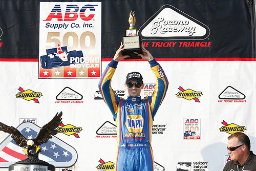 Verizon IndyCar Series<br /> ABC Supply 500<br /> Pocono Raceway, Long Pond, PA USA<br /> Sunday 20 August 2017<br /> Alexander Rossi, Curb Andretti Herta Autosport with Curb-Agajanian Honda celebrates on the podium<br /> World Copyright: Phillip Abbott<br /> LAT Images<br /> ref: Digital Image abbott_pocono_0817_7977