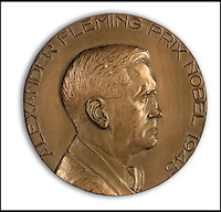 BNPS.co.uk (01202 558833)<br /> Pic: Bonhams/BNPS<br /> <br /> Also in the sale, the Nobel prize bronze medal.<br /> <br /> Two samples of mould that Sir Alexander Fleming used to produce penicillin have emerged for sale as part of a remarkable &pound;15,000 archive relating to the legendary scientist.<br /> <br /> Both specimens of the yellow-green Penicillium Notatum fungus are contained on a glass disc and date back to the 1930s when Fleming was developing his 1928 discovery of penicillin. <br /> <br /> The treatment has gone on the save millions of lives across the world.<br /> <br /> Indeed, as part of the archive that has emerged at Bonhams is a poignant letter of thanks from a father to the biologist for helping to save his daughter's life.