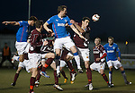 Jon Daly attacks the corner kick