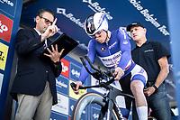 Remco Evenepoel (BEL/Deceuninck Quick Step) on the start podium<br /> <br /> Baloise Belgium Tour 2019<br /> Stage 3: ITT Grimbergen – Grimbergen 9.2km<br /> ©kramon